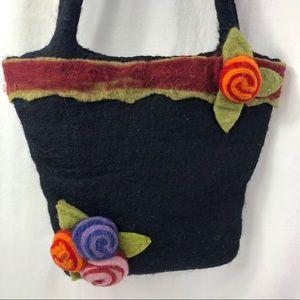 Rising Tide Shoulder Bag Hand made Wool Black